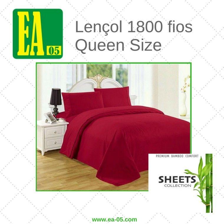 Lençol 1800 fios - Premium Bamboo Collection - Queen Size - Vermelho Escuro