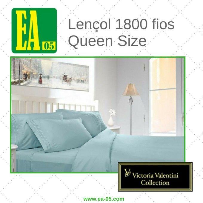 Lençol 1800 fios - Victoria Valentini Collection - Queen Size - Azul Claro  - Espaço do Alérgico