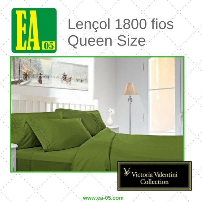 Lençol 1800 fios - Victoria Valentini Collection - Queen Size - Verde  - Espaço do Alérgico
