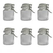 Conjunto de Mini Potes Hermeticos para Temperos Quadrado com 6 unidades