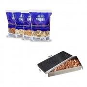 Kit 1 Lasca de Lenha Para Defumação Blue Smoke + Smoker em Inox 304