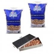 Kit 2 Lascas de Lenha Para Defumação Blue Smoke Abacateiro + Smoker em Inox 304