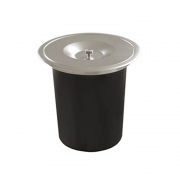 Lixeira GhelPlus Redonda Inox Acetinado Embutir e Balde Plástico 5L