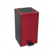 Lixeira Retangular Soft Pedal e Balde Plástico 7L Vermelha GhelPlus