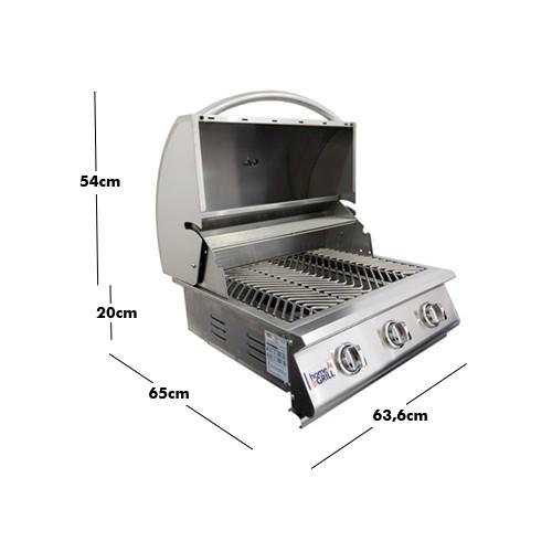 Churrasqueira a Gas Home e Grill Style Premium HG-3B - 3 Queimadores - 100% Inox 304   - Sua Casa Gourmet e Cia