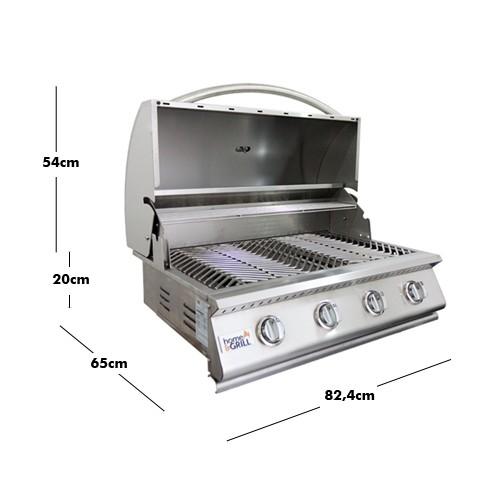 Churrasqueira a Gas Home e Grill Deluxe Premium HG-4B - 4 Queimadores - 100% Inox 304  - Sua Casa Gourmet e Cia