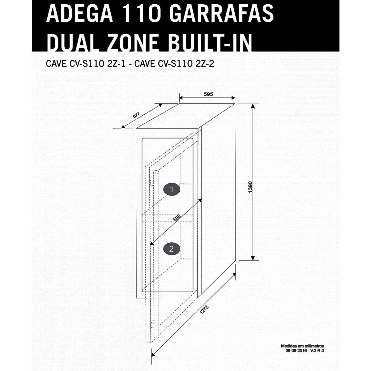 Adega Elettromec 110 Garrafas Built In - Dual Zone - 220V