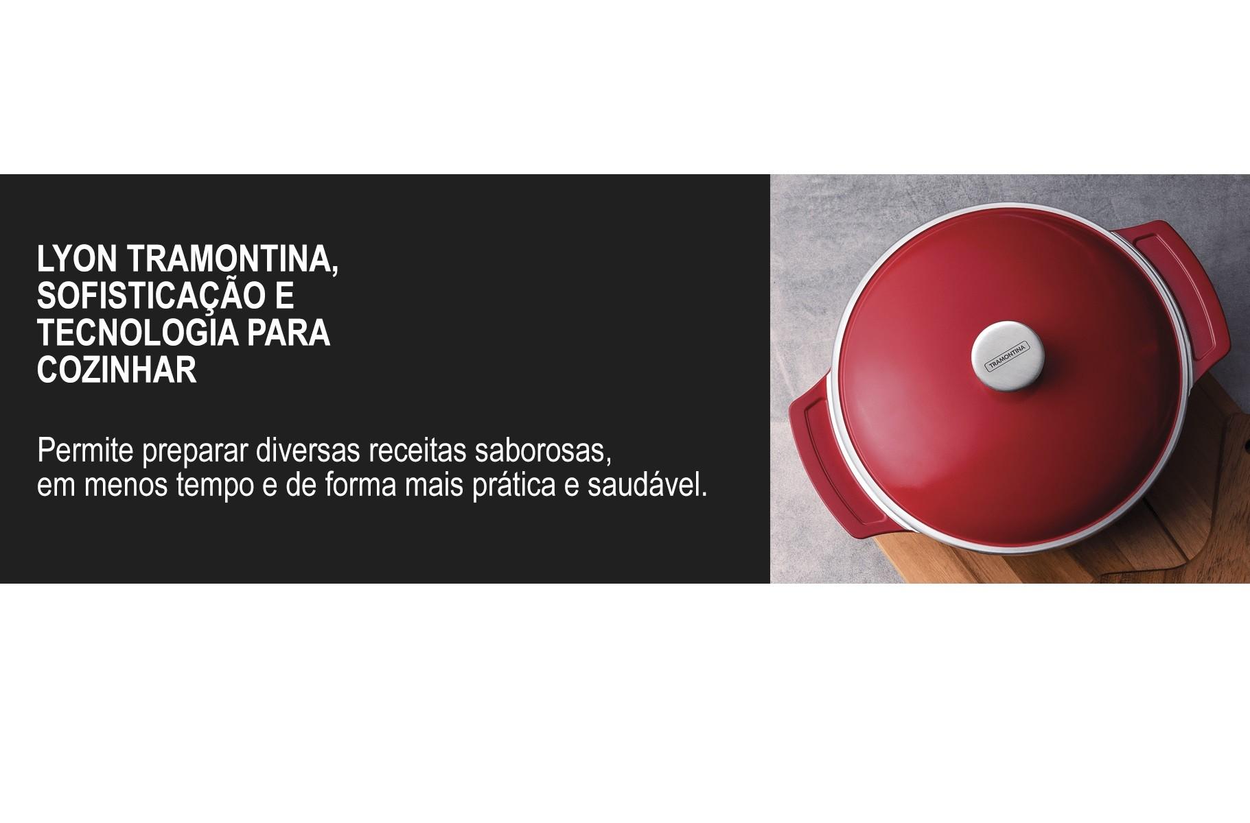 Caçarola Lyon Antiaderente Vermelha 24cm Tramontina  - Sua Casa Gourmet e Cia