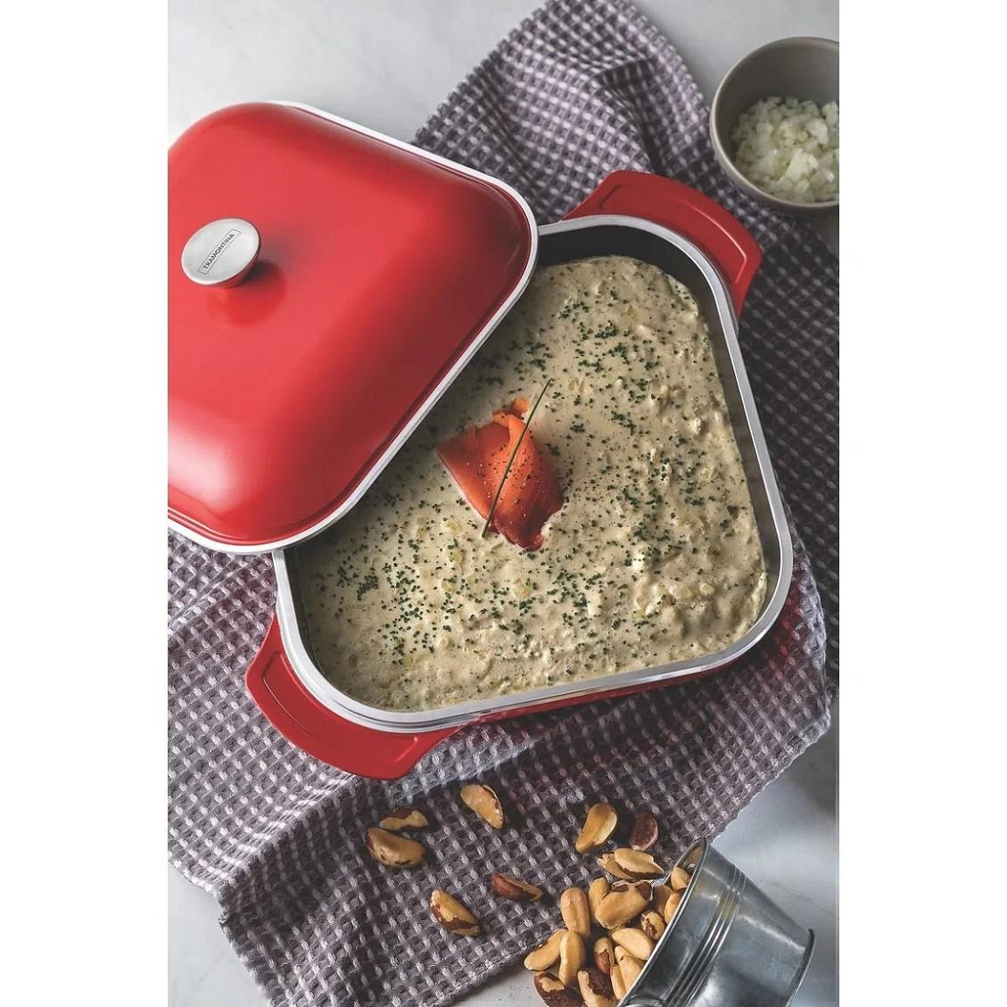 Caçarola Quadrada Lyon 28cm Vermelha Tramontina  - Sua Casa Gourmet e Cia