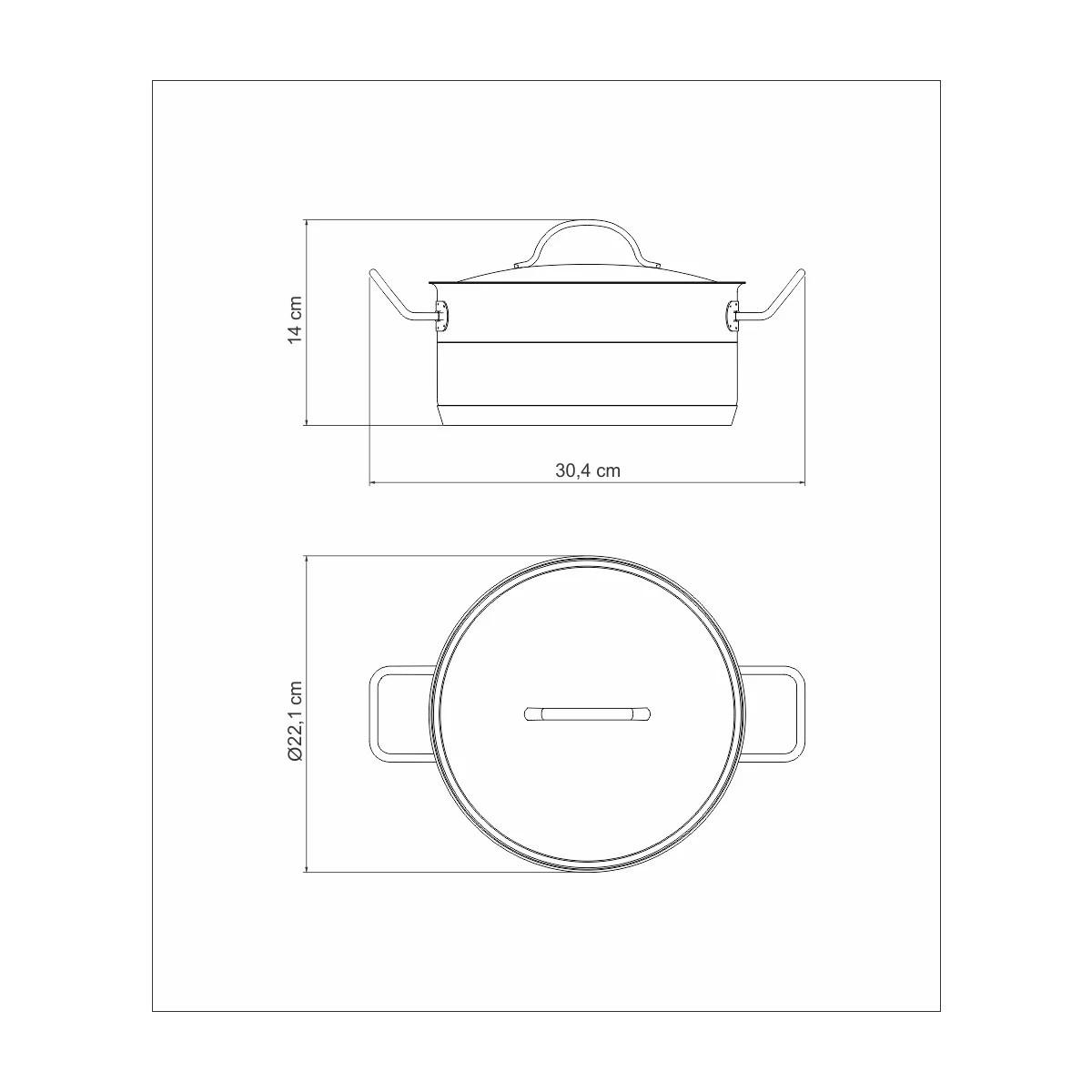 Caçarola Rasa Inox Professional 20cm  Tramontina  - Sua Casa Gourmet e Cia