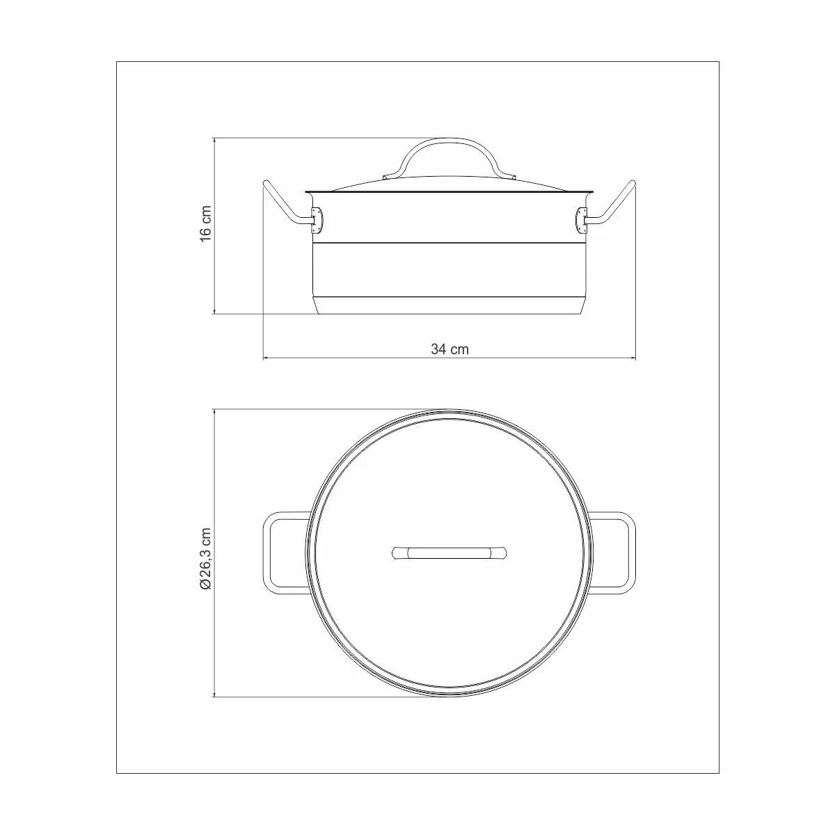 Caçarola Rasa Aço Inox Professional 24cm  - Sua Casa Gourmet e Cia