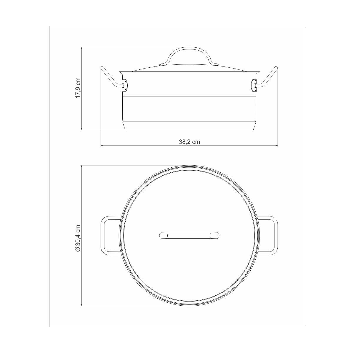 Caçarola Rasa Aço Inox Professional 28cm  - Sua Casa Gourmet e Cia