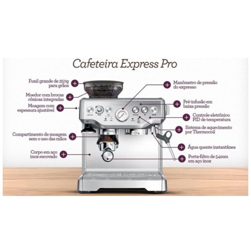 Cafeteira Tramontina By Breville Express Pro 69066 Inox 220V  - Sua Casa Gourmet e Cia