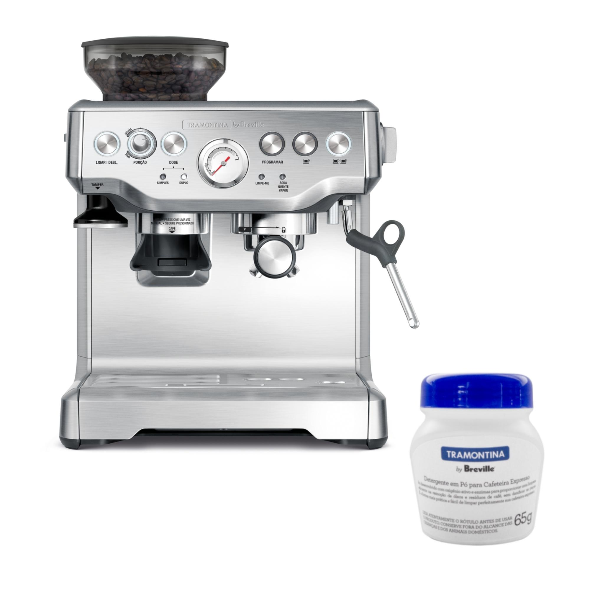 Cafeteira Tramontina By Breville Express Pro 69066 Inox e Detergente em pó para Cafeteira