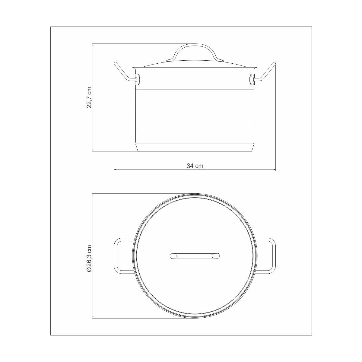 Caldeirão Aço Inox Professional 24cm 7,8L  - Sua Casa Gourmet e Cia