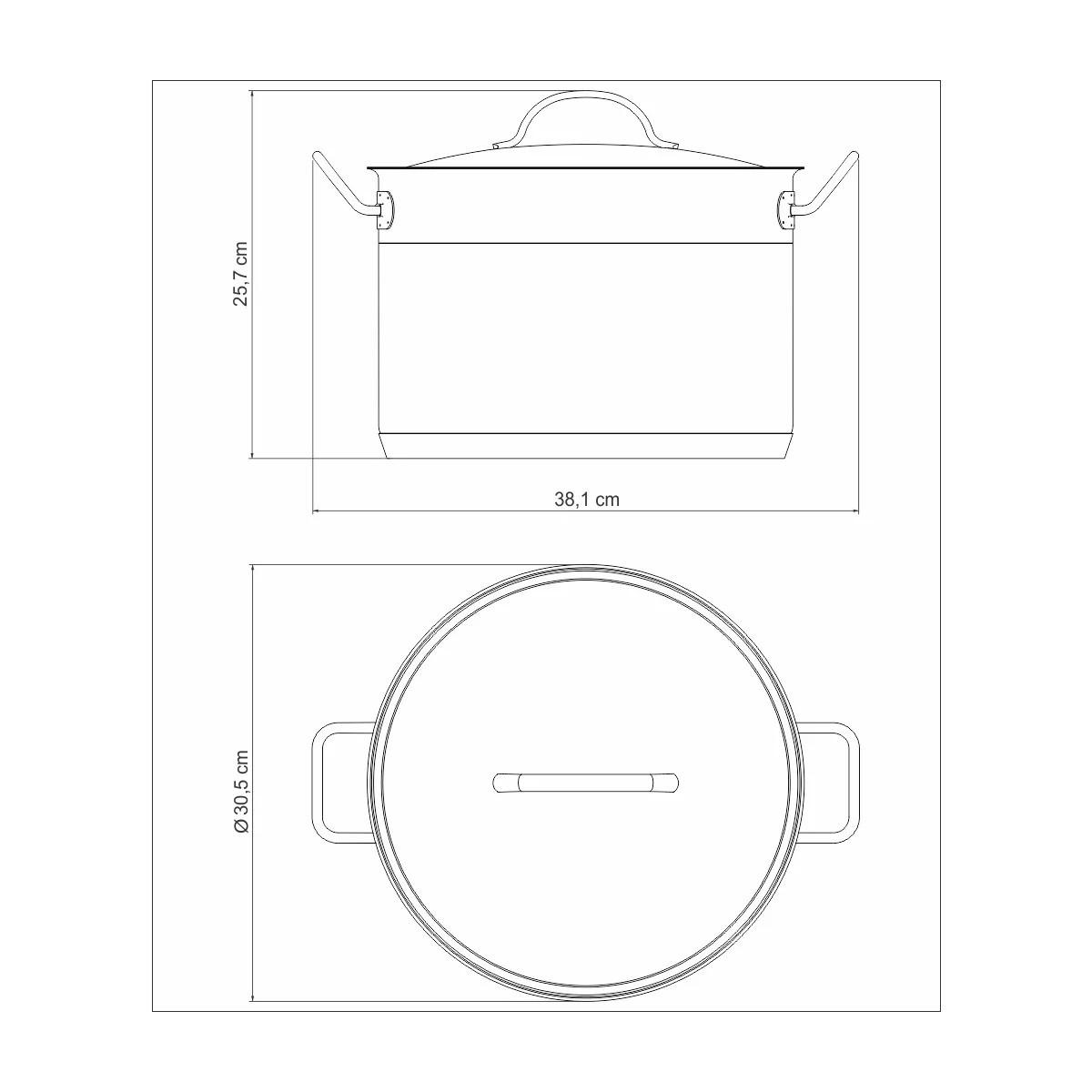Caldeirão Aço Inox Professional 28cm 11,9L  - Sua Casa Gourmet e Cia