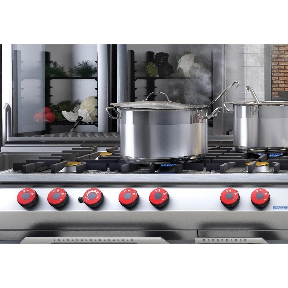 Caldeirão Fundo Aço Inox Professional 20cm 5,7L  - Sua Casa Gourmet e Cia