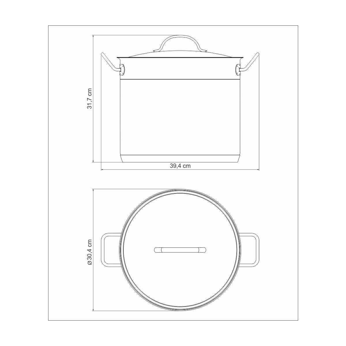 Caldeirão Fundo Aço Inox Professional 28cm 15,7L  - Sua Casa Gourmet e Cia