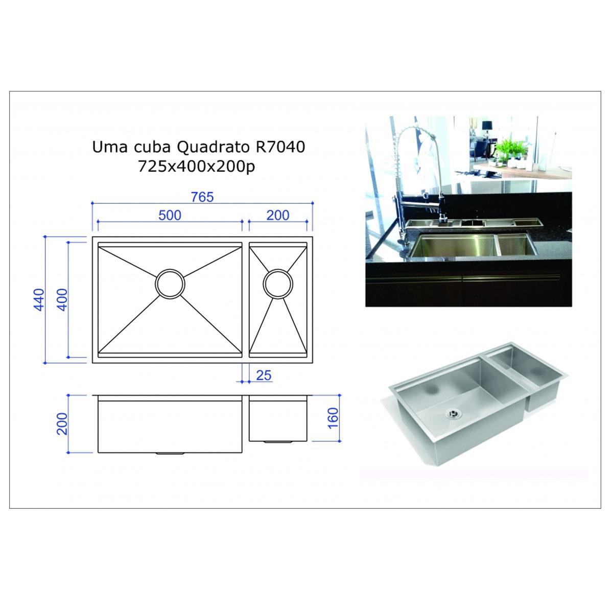 Cuba Dupla de Aço Inox 304 Quadrato R7040 Fabrinox