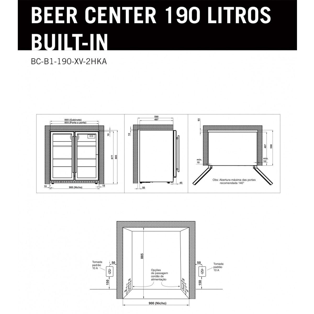 Cervejeira de Embutir Elettromec Beer Center 190 Litros 220V