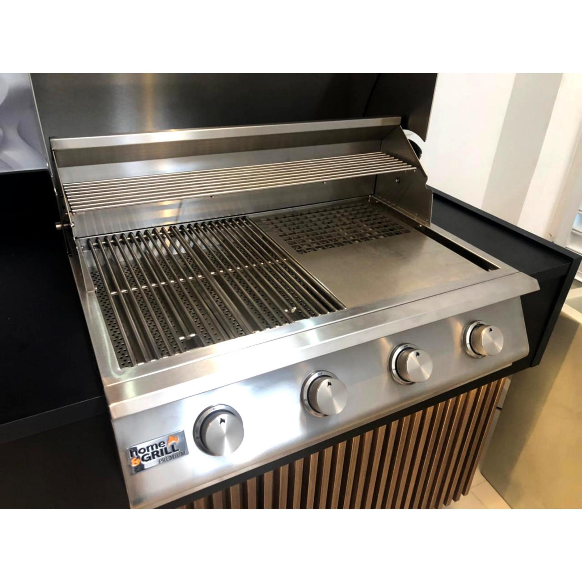 Chapa Dupla Inox Quadriculada para Churrasqueira Home&Grill Premium  - Sua Casa Gourmet e Cia