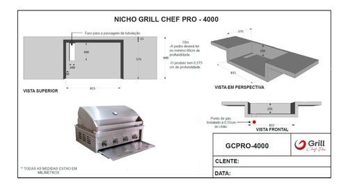 Churrasqueira a Gás 4 Queimadores Grill Chef Pro GCPro 4000  - Sua Casa Gourmet e Cia