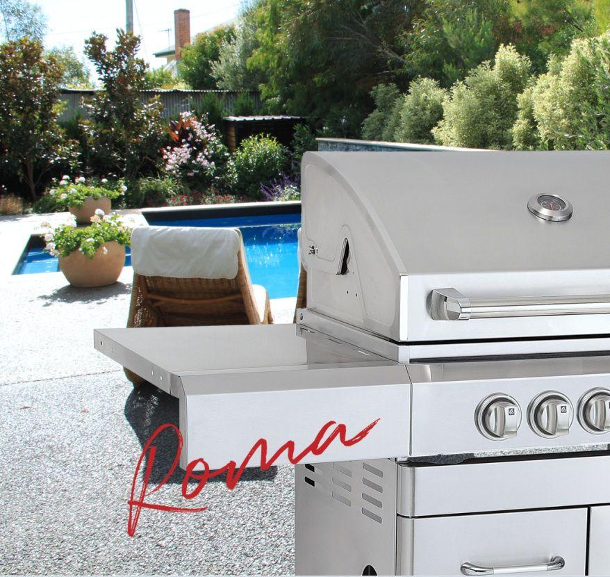 Churrasqueira a Gás Com Carrinho Evol Roma 100% Inox 304 - 3 Queimadores  - Sua Casa Gourmet e Cia