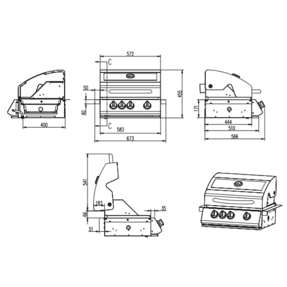 Churrasqueira a Gás Concept Grill Monaco 3 Queimadores c/ Infrared e Acessórios  - Sua Casa Gourmet e Cia