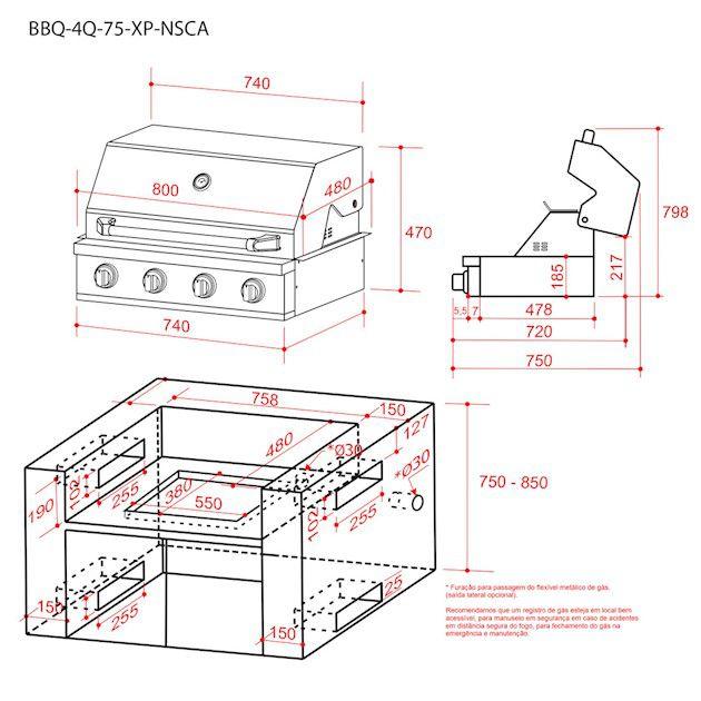 Churrasqueira à Gás Elettromec 100% Inox 304 - 4 Queimadores Com Infrared