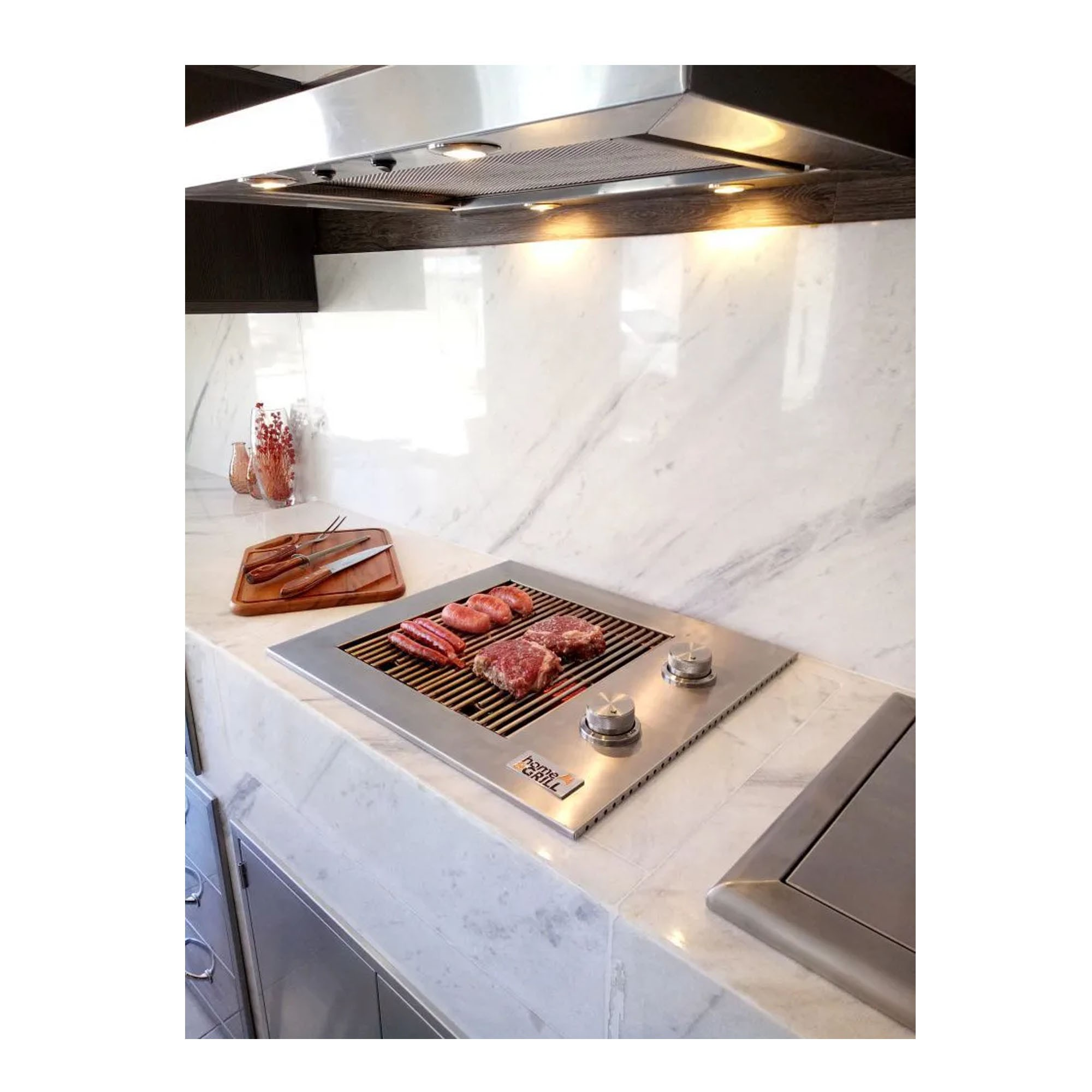 Churrasqueira a Gás Home&Grill Drop-In HG-2B Sem Tampa - Inox 304  - Sua Casa Gourmet e Cia