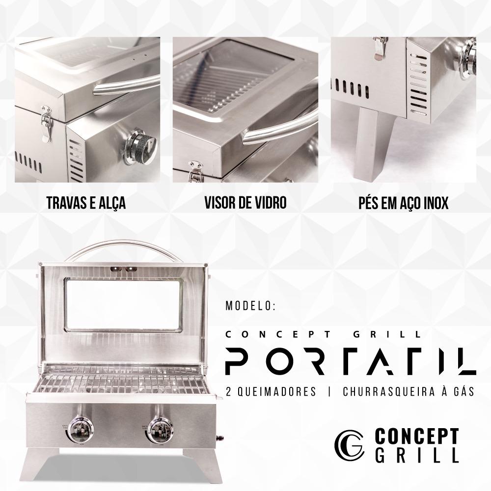 Churrasqueira a Gás Portátil 2 queimadores Concept Grill  - Sua Casa Gourmet e Cia