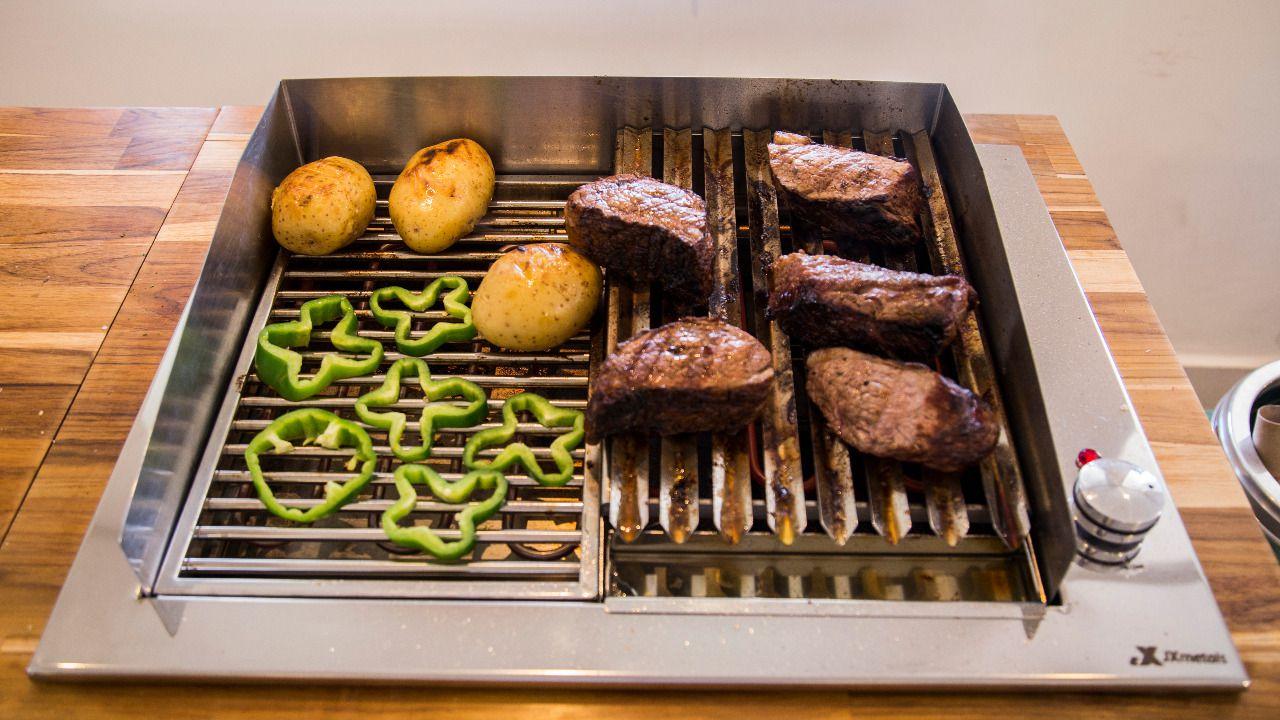 Churrasqueira Elétrica Gourmet Dupla Inox 304 JX Metais 220V  - Sua Casa Gourmet e Cia