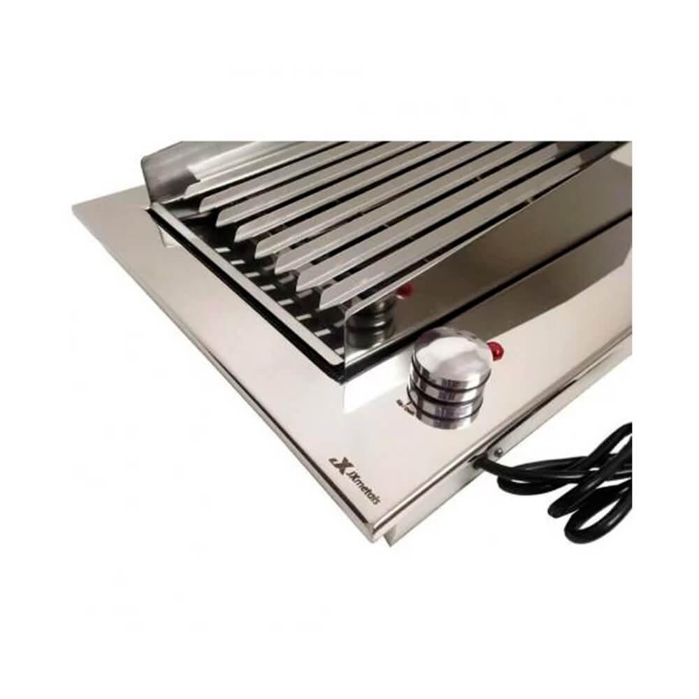Churrasqueira Elétrica Gourmet Simples Inox 304 JX Metais - 110V ou 220V  - Sua Casa Gourmet e Cia