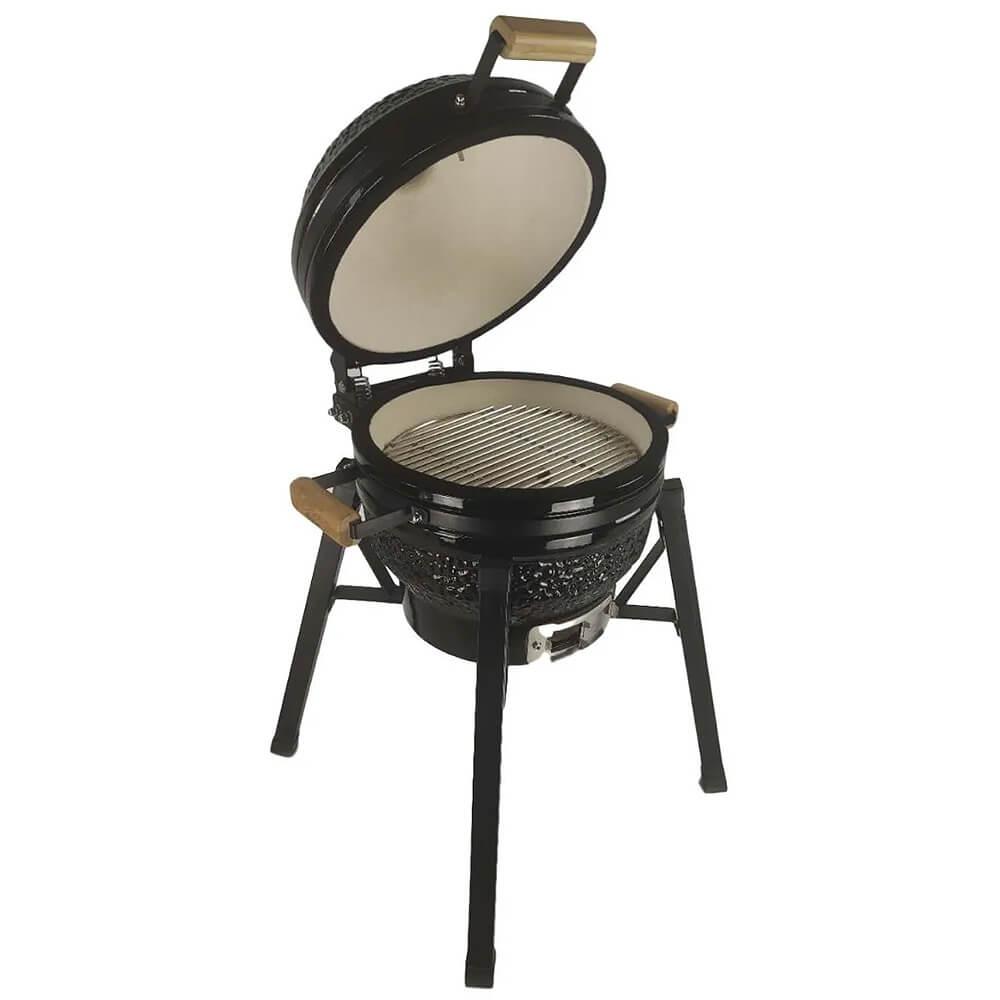 Churrasqueira Kamado Big Bob Egg Cerâmica Carvão Grill 16 Preta  - Sua Casa Gourmet e Cia