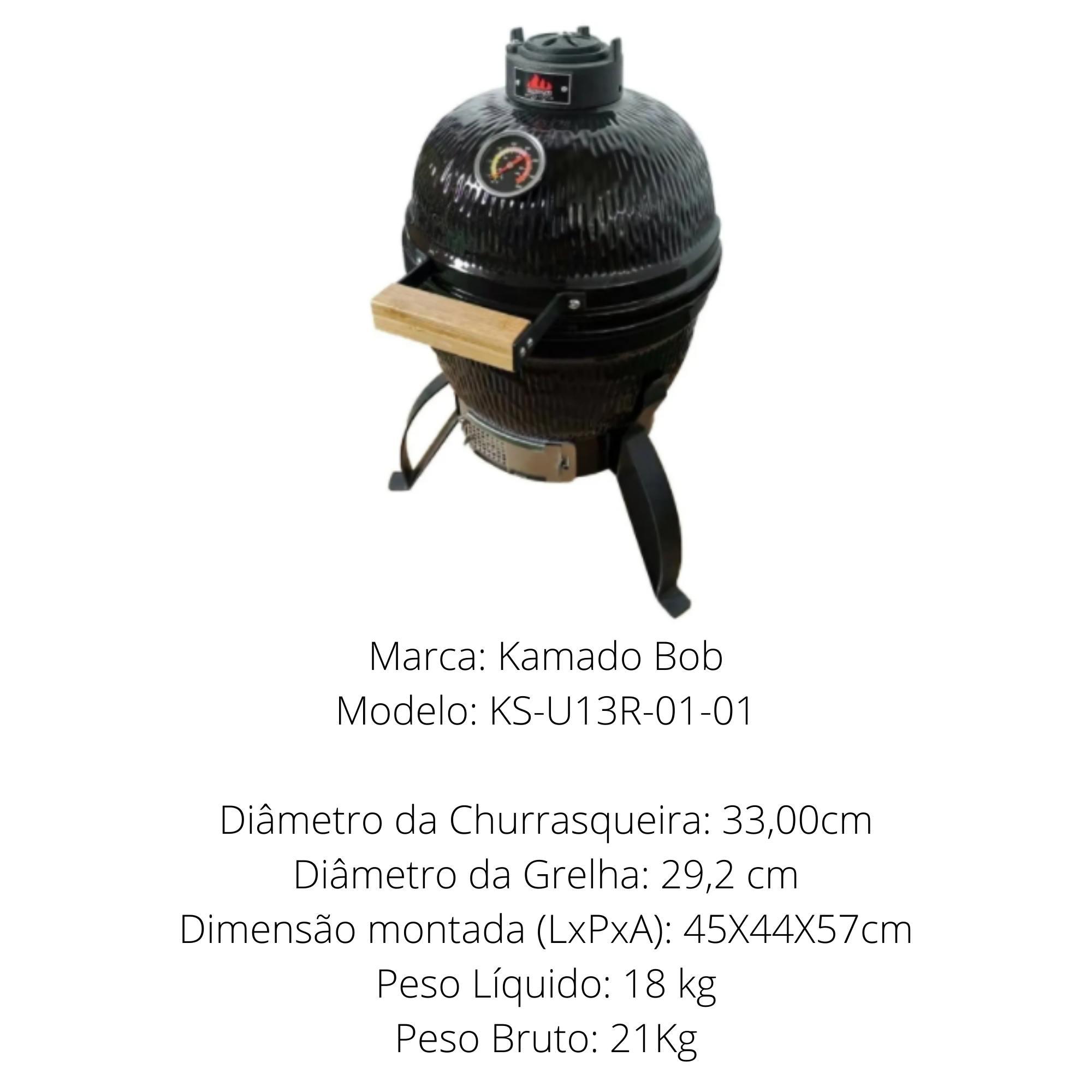 Churrasqueira Kamado Big Bob Egg Cerâmica Classic 13 Preta  - Sua Casa Gourmet e Cia