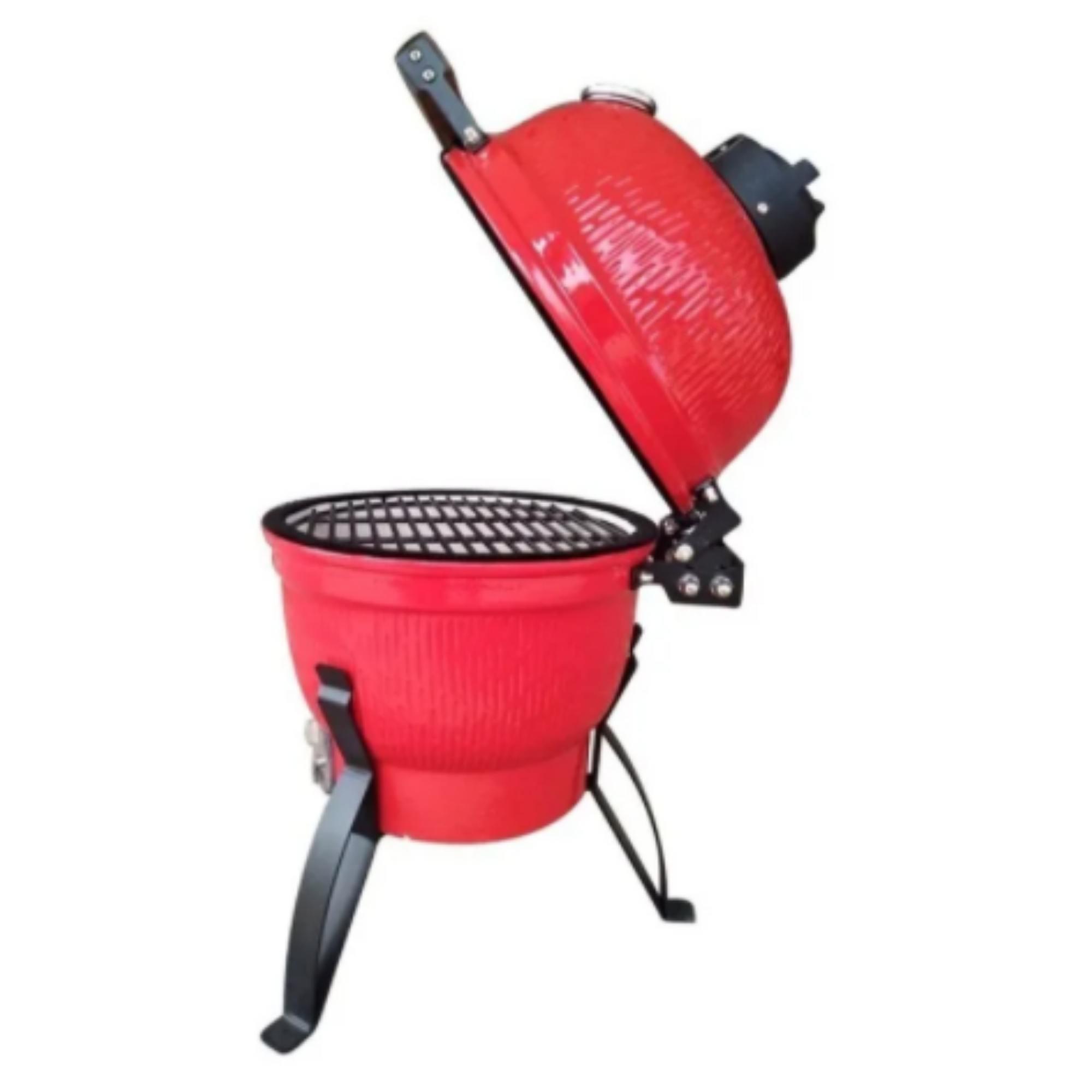 Churrasqueira Kamado Big Bob Egg Cerâmica Classic 13 Vermelha  - Sua Casa Gourmet e Cia