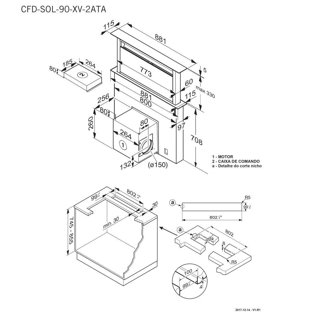 Coifa de Bancada Elettromec Sollevare Inox e Vidro 90cm 220V