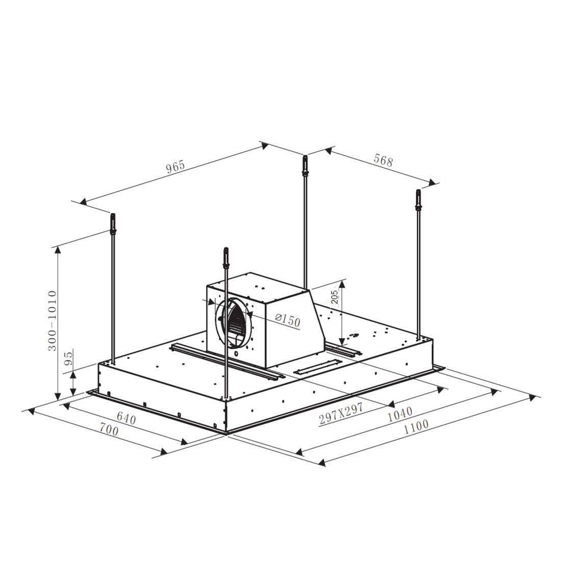 Coifa de Embutir Elettromec Sospesa Inox e Vidro 110cm 220V