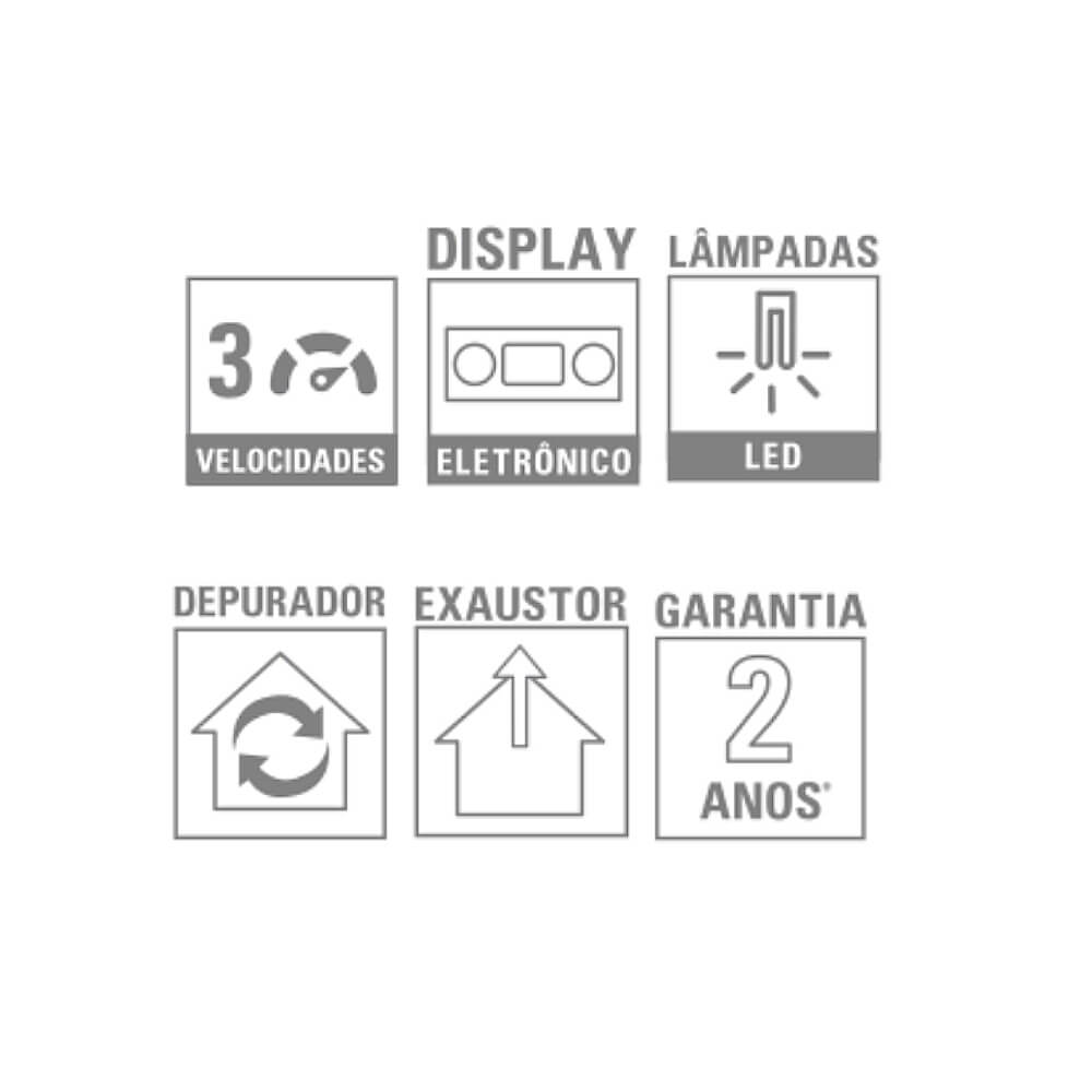Coifa de Parede Barcelona 90cm 220V Debacco  - Sua Casa Gourmet e Cia