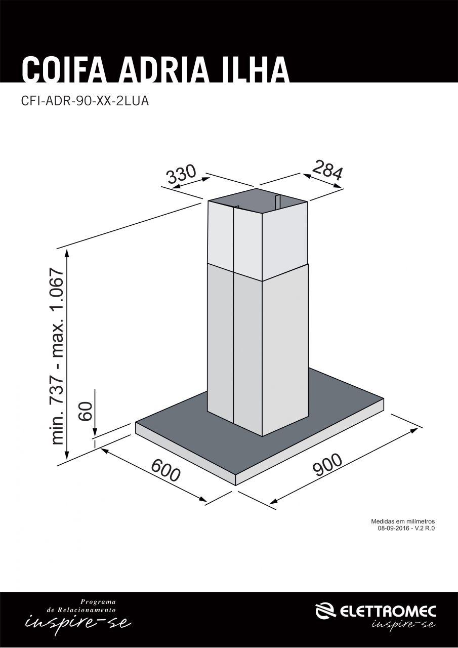 Coifa Elettromec Adria Ilha Inox 90cm 220V