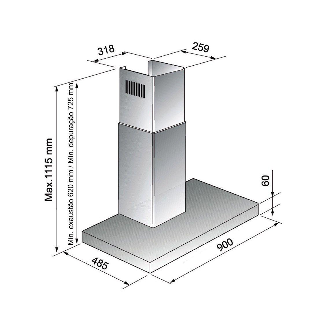 Coifa Elettromec Adria Parede Inox 90cm 220V