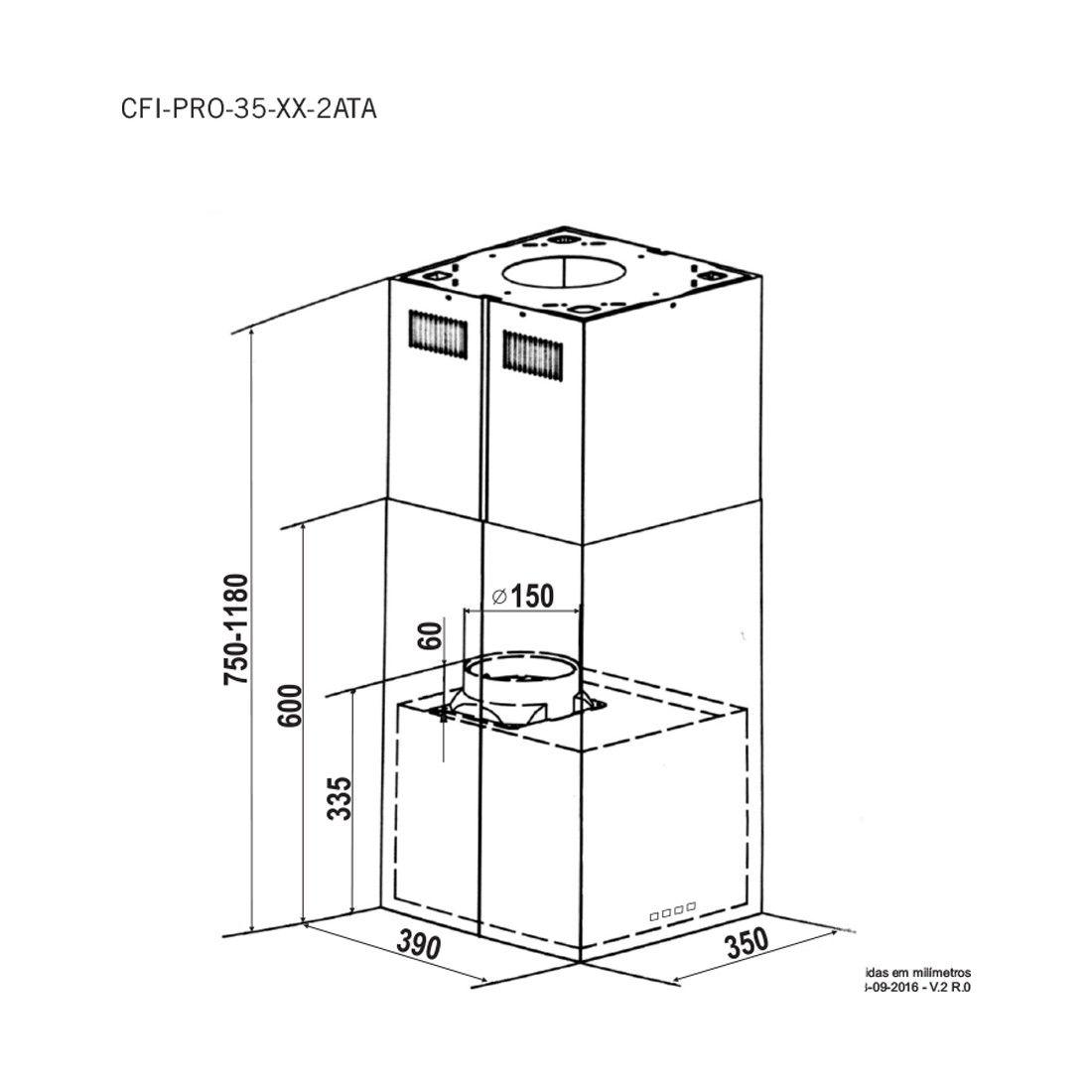 Coifa Elettromec Proteus Ilha Inox 35cm 220V