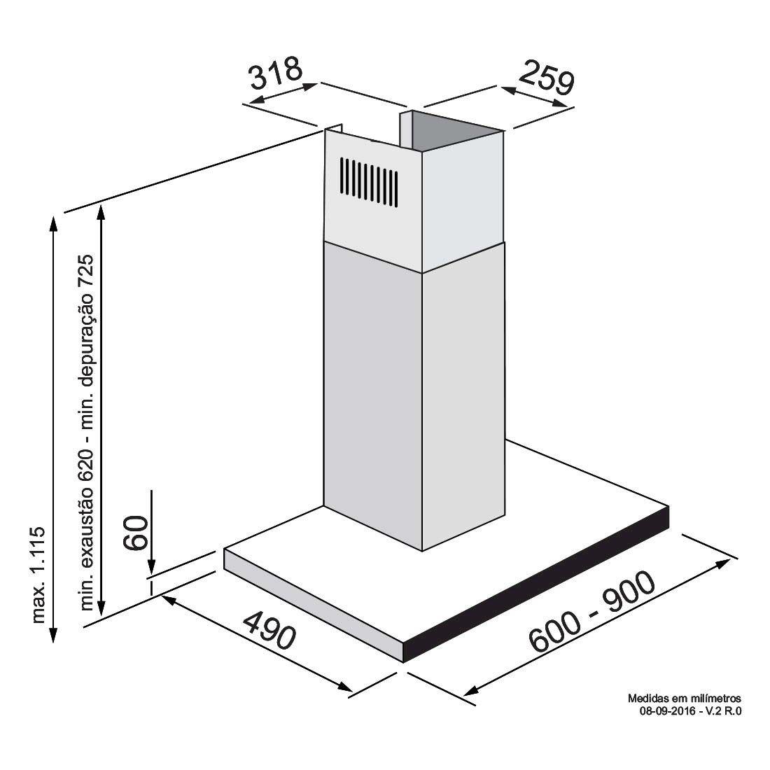 Coifa Elettromec Ravenna Parede Inox e Vidro Preto 60cm 220V