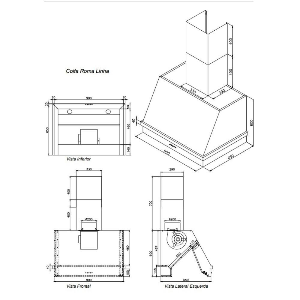 Coifa Inox 430 Roma 0,90m - 900 X 650mm  - Sua Casa Gourmet e Cia