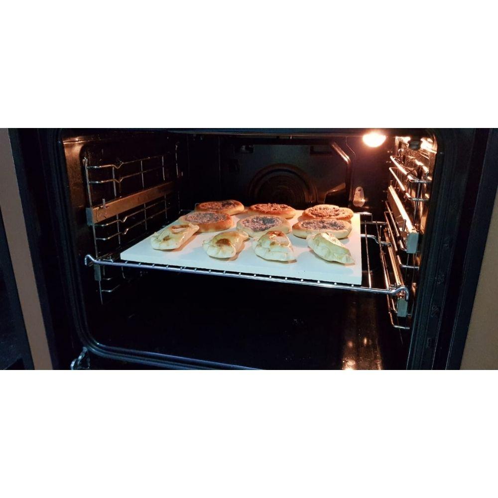 Conjunto de 2 Pedras Refratária Cerâmica Para Pizza 40x40 e 15x35cm  - Sua Casa Gourmet e Cia