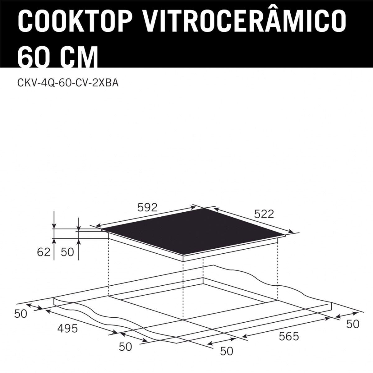 Cooktop Elétrico 4 Queimadores Vitrocerâmico Elettromec 60cm 220V