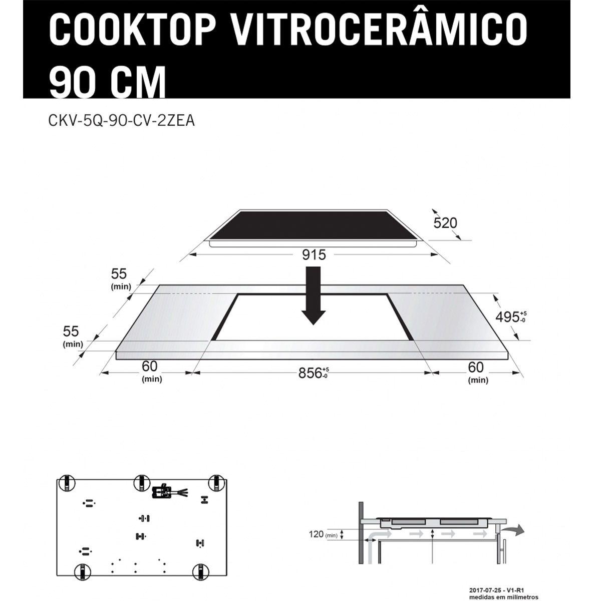 Cooktop Elétrico 5 Queimadores Vitrocerâmico Elettromec 90cm 220V
