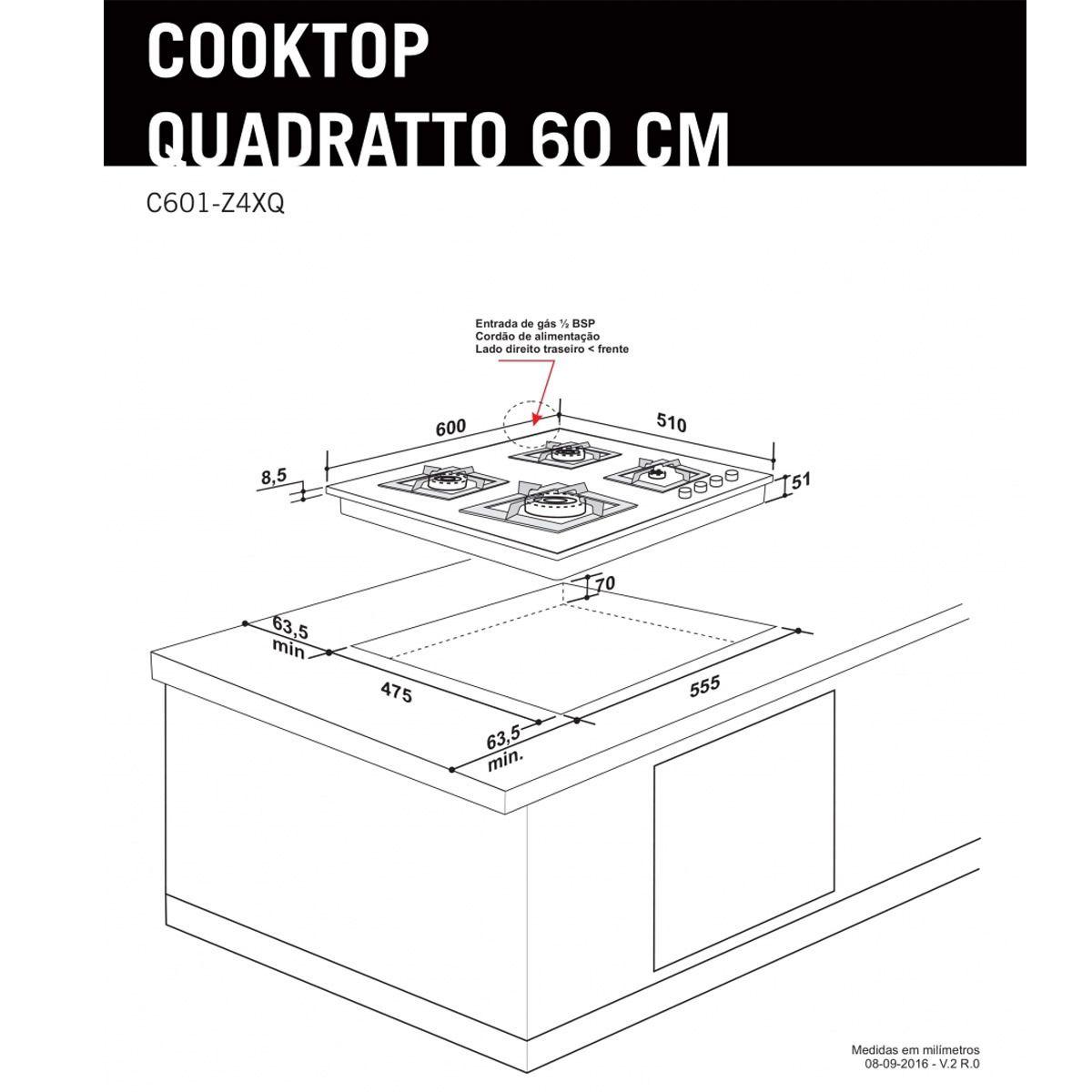 Cooktop a Gás Elettromec Quadratto 4 Bocas 60cm Bivolt