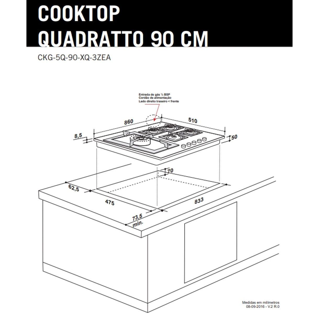 Cooktop a Gás Elettromec Quadratto 5 Bocas 90cm Bivolt