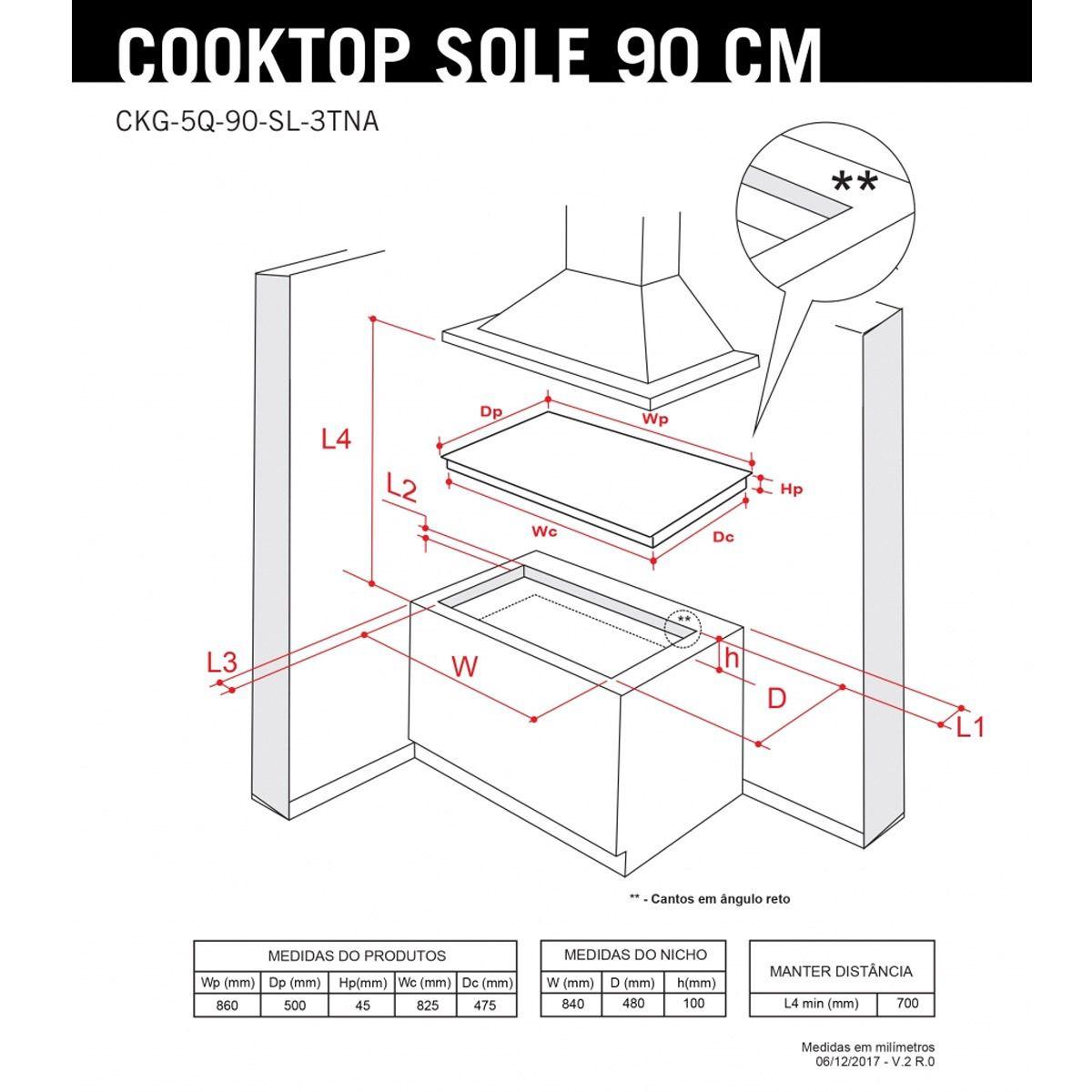 Cooktop a Gás Elettromec Sole 5 Bocas 90cm Bivolt